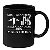 Grandpa Coffee Mug Black 11oz Some Grandpas play bingo, real Grandpas run Marathons, Running Mug
