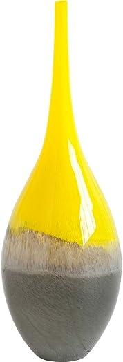Mercana Jesse Large Decorative Vases, 7 x 7 x 20.7 , Yellow Grey