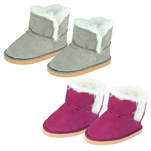Sophia's Set of 2 Mini Ewe Booties for Dolls 1 Pair in Raspberry, 1 Pair in Gray | 18 Inch Doll Boots (My Life Doll Gray Boots)
