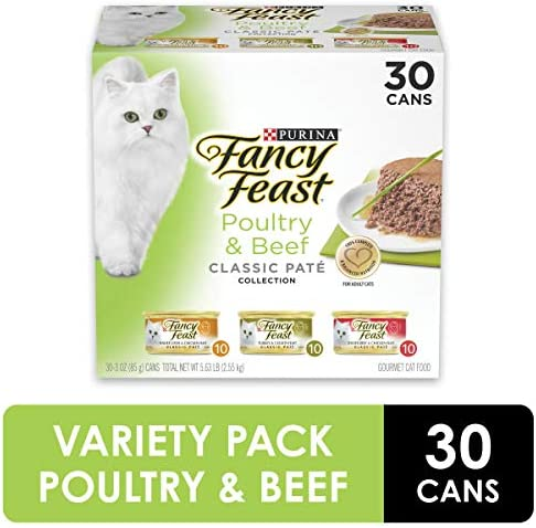 Purina Fancy Feast Grain Free Pate Wet Cat Food Variety Pack, Poultry & Beef Collection - (30) 3 oz. Cans 2