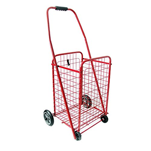 Deluxe Rolling Shopping Cart with Basket – Stowable Duty Cart with Rubber Wheels for Haul, Groceries, Toys, Sports Equipment Trolley Large ,Red