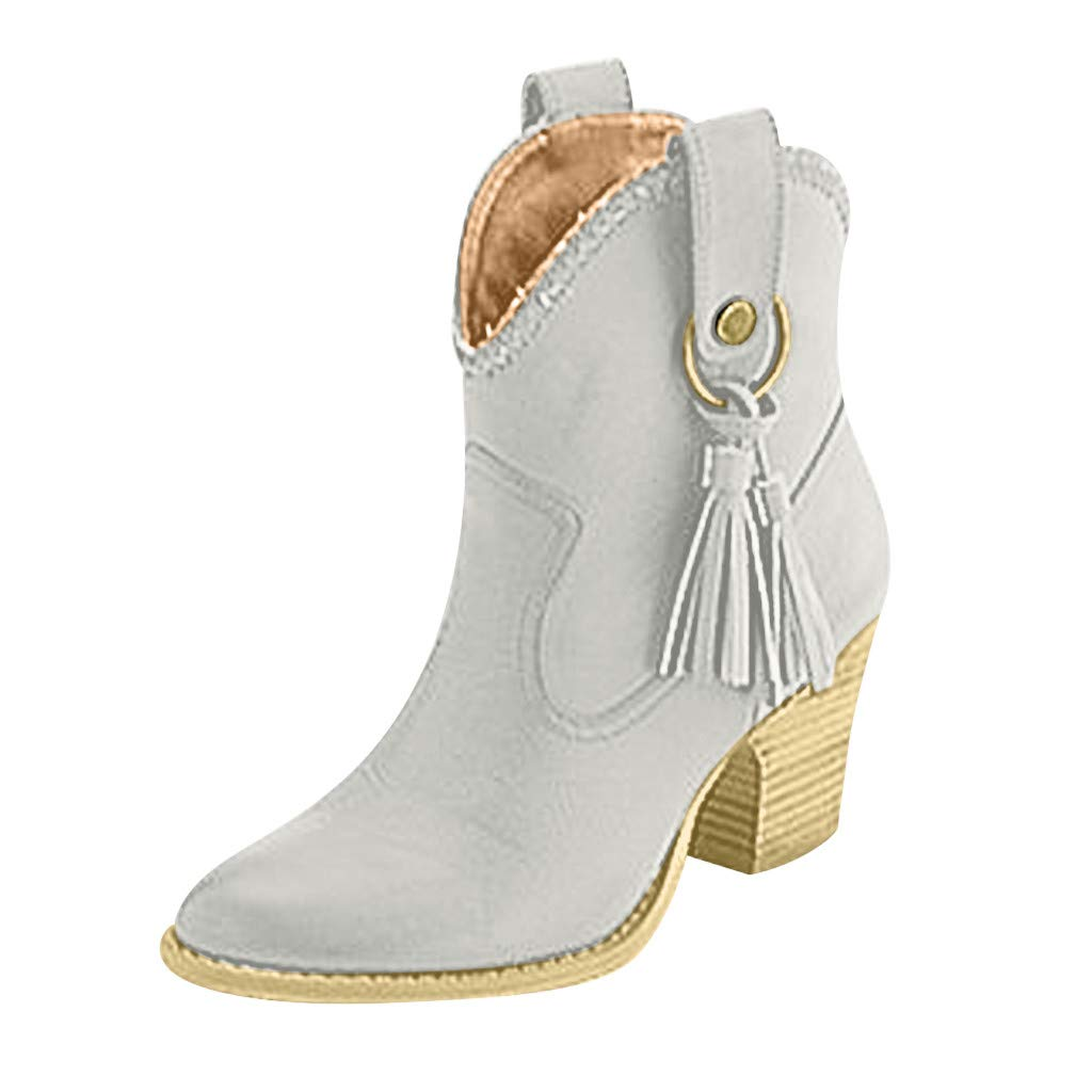 〓COOlCCI〓Chelsea Boot - Casual Tassel High Heel Pointed Toe Slip On Ankle Bootie Western Boot Designer Boots Loafers Gray