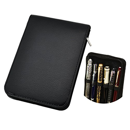 Fountain Rollerball Pen Case Holder PU Leather Case for 12 Pens - Black