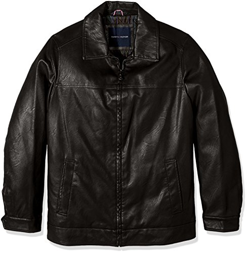 Tommy Hilfiger Men's Tall Smooth Lamb Touch Faux Leather Classic Laydown Collar James Dean Jacket, Black, 4X BIG (Leather Jacket Men Dean)