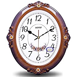 CGGHY 16 Inch (40.5 Cm In Diameter) Silent European Wall Clock Mute In The Living Room Stylish Creative Hanging Watch Modern Clocks In Large Quartz Clocks Wooden Oval