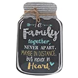 "Barnyard Designs Rustic Family Together Never Apart Mason Jar Decorative Wood and Metal Wall Sign Vintage Country Decor 14""x 9"""