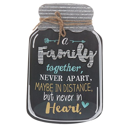 Barnyard Designs Rustic Family Together Never Apart Mason Jar Decorative Wood and Metal Wall Sign Vintage Country Decor 14
