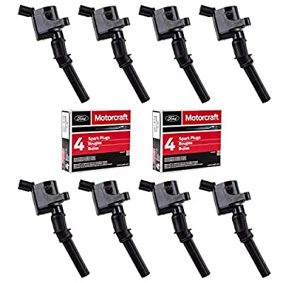 Ignition Coil DG508 and Motorcraft Spark Plug SP479 for Ford 4.6L 5.4L V8 DG457 DG472 DG491 CROWN VICTORIA EXPEDITION F-150 F-250 MUSTANG LINCOLN MERCURY EXPLORER 3W7Z-12029-AA (Set of 8 BLACK): Automotive