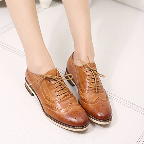 Pictures of Mona Flying Leather Perforated Lace-up Oxfords 4