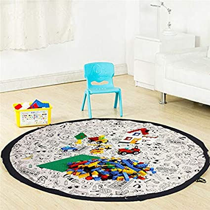 HEBE Round Kids Rugs Solar System Childrens Fun Educational Learning Carpet Playmat Non Skid Nursery Kids Area Rug for Playroom Bedroom Machine Washable,3.3 Feet