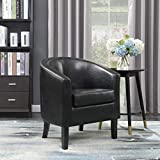 small leather club chair Belleze Modern Club Chair Accent Elegance Faux Leather Living Room Armrest Elegance Seat, Black