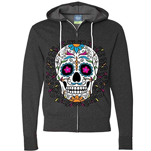 Dia De Los Muertos Pastel Sugar Skull Zip-Up Hoodie - Charcoal Heather Medium