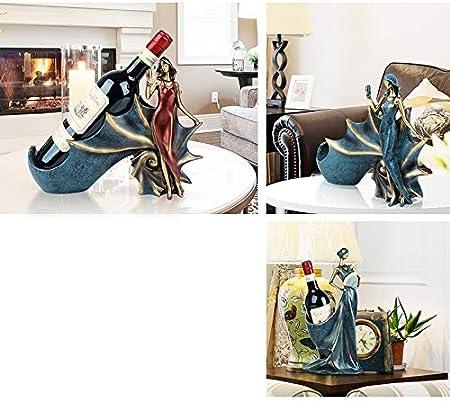 Decoraciones artesanales Belleza creativa Estante de vino europeo decoración TV vinoteca decoraciones for el hogar Moderno hogar minimalista sala de estar manualidades Exposiciones ( Color : A red )
