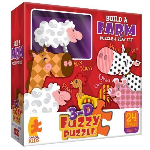 Build a Farm Puzzle & Play Set - 3-D Fuzzy Puzzle (Ceaco Puzzle Fuzzy)