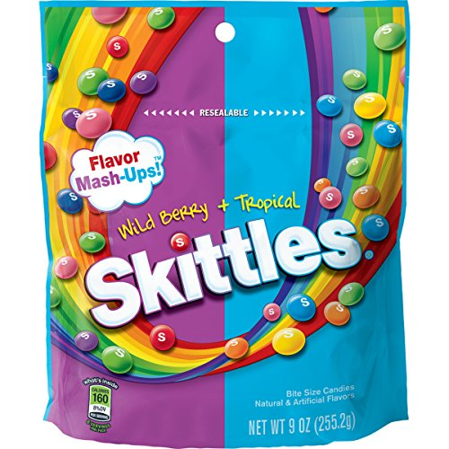 Skittles Flavor Mash-Ups Wild Berry and Tropical Candy, 9 oz 9 Ounce Bags Pack