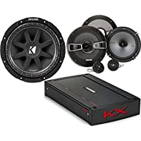 Kicker Bundle of 3 Items 44KXA800.5 KX Series Car Amplifier with 41KSS654 6-1/2 Component Speaker System and 43C104 10 Subwoofer