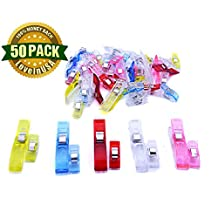LoveInUSA Sewing Clips,Pack of 50 Wonder Magic Clips Multipurpose or for Sewing Craft Clamps,Crafting,Crochet and Knitting,All Purpose Clips for Quilting Binding Clips