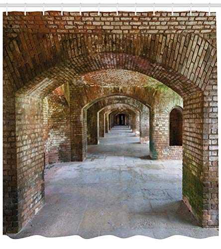 Ambesonne Vintage Shower Curtain, Brick Arches Dry Tortugas Old...