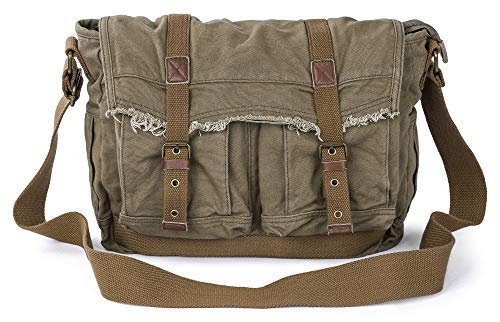 Gootium Canvas Messenger Bag - Vintage Shoulder Bag Frayed Style Satchel