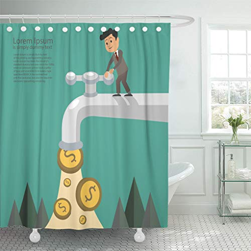 Emvency Shower Curtain Cash Businessman Fall Out of The Golden Tap Passive Income Concept Flat Shower Curtains Sets with Hooks 72 x 72 Inches Waterproof Polyester Fabric (Residual Income Game)