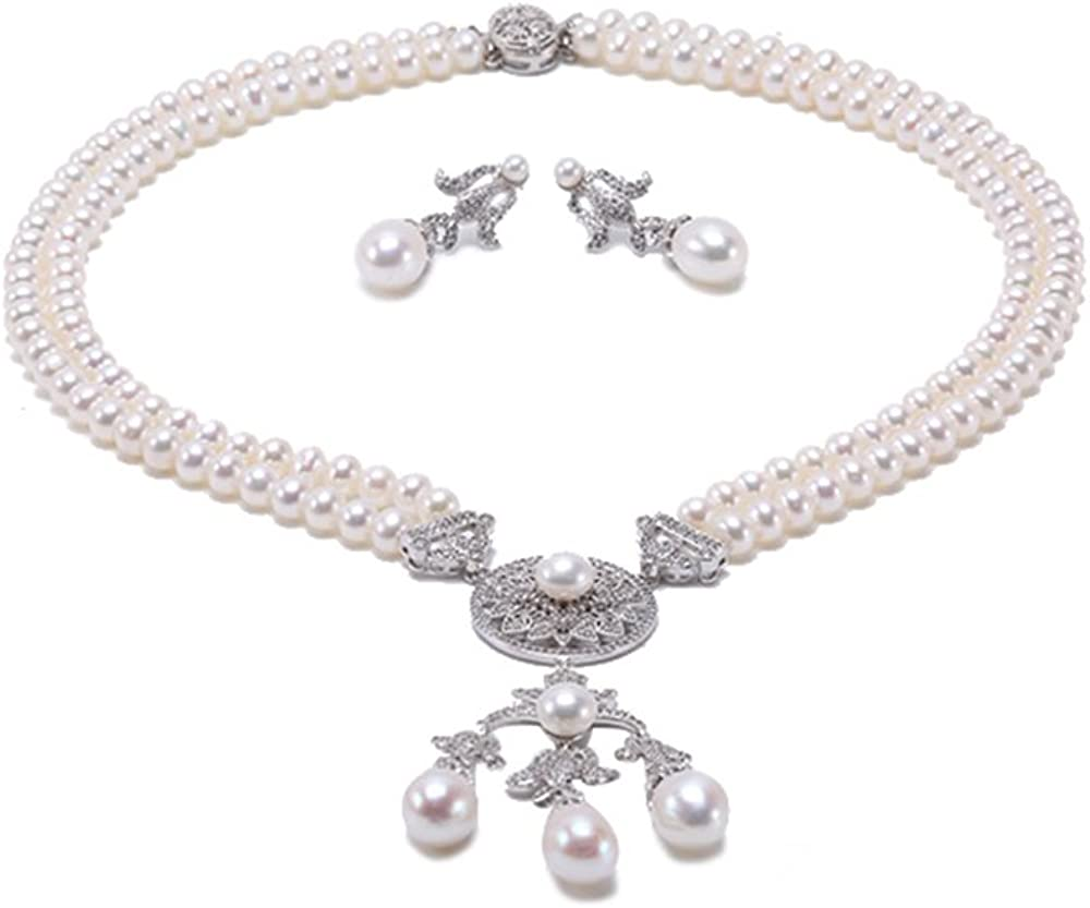 *** New Ladies Gourgess White Pearl With Diamante Detail Necklace /& earring ***