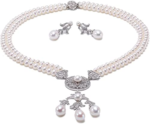 JYX Pearl Necklace Set Sterling Silver AAA Quality 6mm Flat Round Freshwater Cultured White Pearl Necklace and Earrings Set for Women