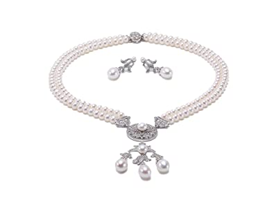 40a671a48d9a6 Amazon.com: JYX Pearl Sterling Silver Necklace Set AAA Quality 6mm ...