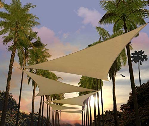 Amgo 10' x 10' x 10' Sand Beige Sun Shade Sail Triangle Canopy Awning Shelter Fabric Screen