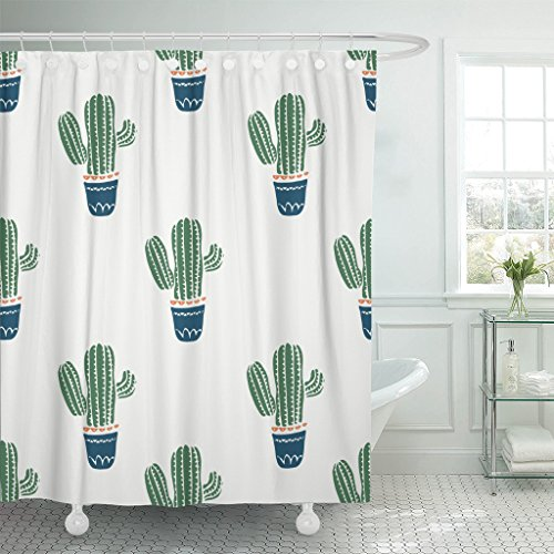 Emvency Fabric Shower Curtain Curtains with Hooks White Mexican Cute Cacti Flowerpots Cactus Kid's Baby's Design Graphic Green Tropical Vintage Modern Desert 72