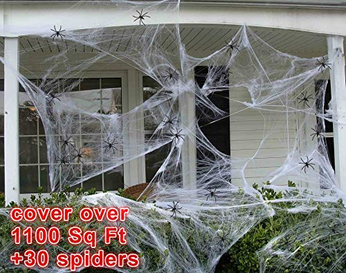 90shine 1100 sqft Fake Spider Web Halloween Party Outdoor Decorations Supplies with 30 Spiders