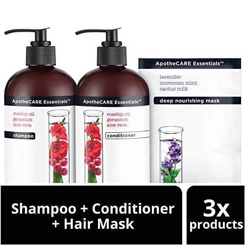 (ApotheCARE Essentials The Booster Shampoo, Conditioner and Hair Mask, Rosehip Oil, Geranium, Aloe Vera, 12 oz, 2 count and 1.15)