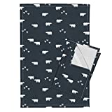 Roostery Polar Bears Bears Baby Bears Woodland Animals Baby Boy Navy Forrest Creatures Sunny Afternoon Tea Towels Polar Bears - White On Navy by Sunny Afternoon Set of 2 Linen Cotton Tea Towels