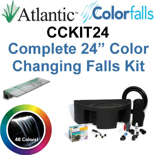 Atlantic Water Gardens CCKIT24 Complete Color Changing Colorfalls Kit - 24'' Spillway, 48 Colors, Basin, Pump, Hose & Fittings by Atlantic