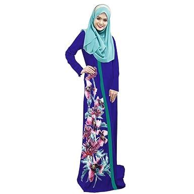 dff507ef18a KINDOYO Robe Longue Musulmane - Robe Longue imprimé Flore à la Taille(Hijab  Non Inclus