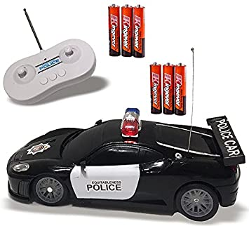remote control police car toy with led lights and police siren sounds for kids boys and
