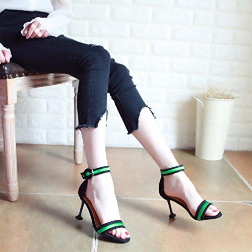 Zapatos Sapo YMFIE Dama de Moda tacón Sandalias Verano Sexy b con de B6x8BqgwF