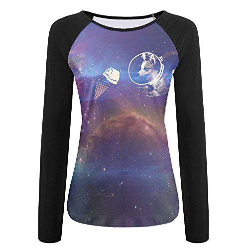 Galaxy Space Corgi Women's Sports Raglan Long Sleeve T Shirt Comfortable Baseball Tees 3D Printing Design Boat Neckline Tops Undershirt XX-Large