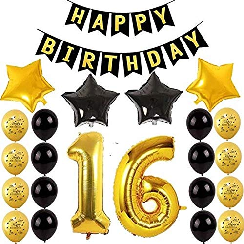 16th Birthday Party Balloons Happy Birthday Letters Banner Black Happy Birthday Banner Number 16