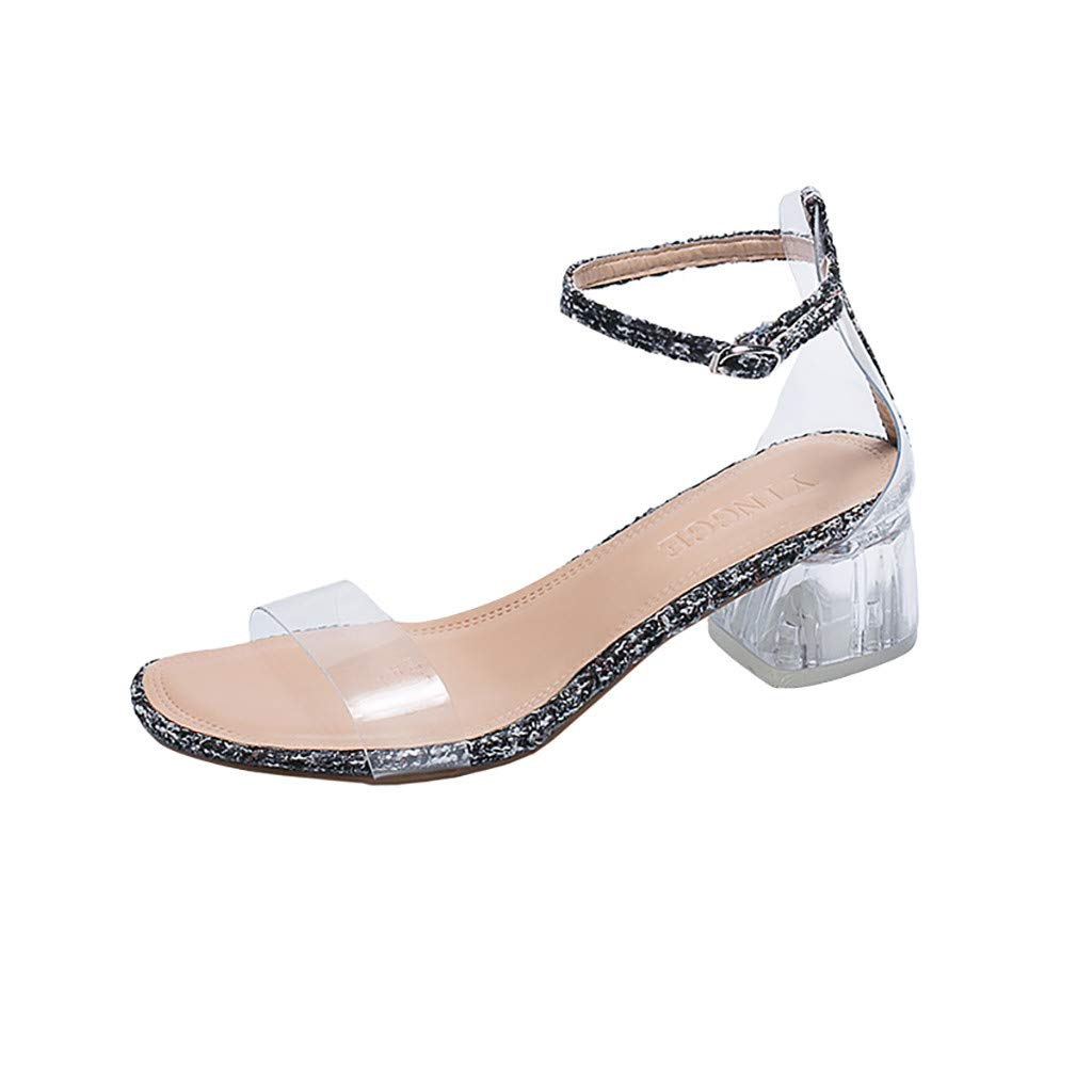 Fastbot Women's Summer Sandals Transparent Crystal Straps Thick Medium Heels Black