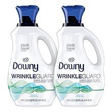 Downy Wrinkleguard Liquid Fabric Softener & Conditioner, Unscented, 2 Pack of 48 Fl Oz. Wrinkle Guard Bottles