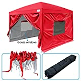 Quictent 2018 Upgraded Privacy 10×10 EZ Pop Up Canopy Tent Instant Folding Canopy with Sidewalls, Mesh Windows Waterproof and Wheeled Carry Bag (Red)