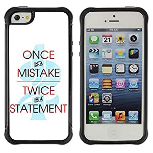 Hybrid Anti-Shock Defend Case for Apple iPhone 5 5S / Cool Statement Message