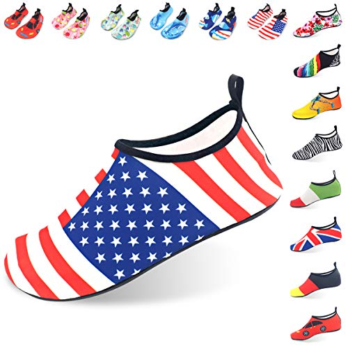 (LYSHION Water Shoes Barefoot Quick-Dry Ultra-Light Breathable Aqua Socks for Beach Yoga Swimming Exercise Unisex, Stars and Stripes, Size 40-41)