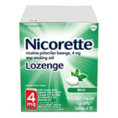 Nicorette 4mg nicotine lozenges in Mint is a stop smoking aid that allows you to conveniently control your nicotine intake throughout the day. Nicorette dissolve quickly and start relieving your cravings in as little as 3 minutes*. plus, the ...