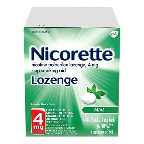 - Nicorette Nicotine Lozenge to Stop Smoking, 4mg, Mint, 144 Count