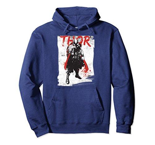Unisex Marvel Thor Grunge Paint Splatter Graphic Hoodie 2XL (Thor Womens Hoody)