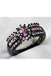 Gy Jewelry Pink Sapphire Cz Black Gold Filled Women's Wedding Ring Engagement Gifts