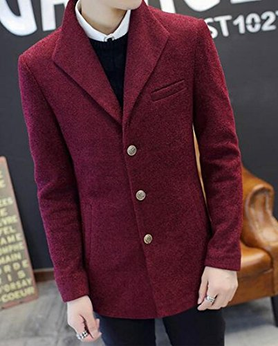 UK Wool Blend Jacket Red today Lapel Mens Sleeve Button Long Three dUqqOxB