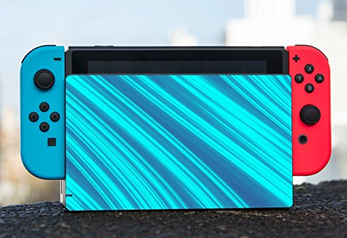 Blue Teal Line Artwork Nintendo Switch Dock Vinyl Decal Sticker Skin by Moonlight Printing