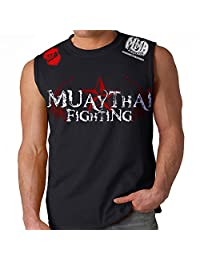 Muay Thai Fighting Adult Muscle Black MMA UFC Tapout Sleeveless Shirt